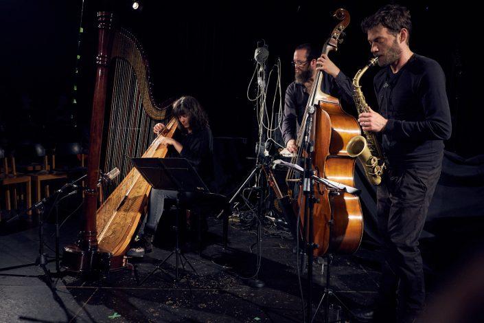 Kathrin Pechlof (harp), Robert Landfermann (b), Christian Weidner (sax)